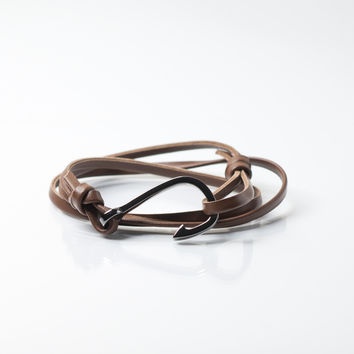 Men's Gunmetal Hook Leather Bracelet (Light Brown)
