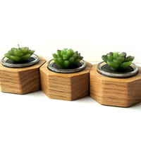 Modern Hand-Crafted Wood Candle / Pot Holder - Solid Oak - Set of 3 Octagon holders with glass container