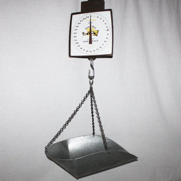 Vintage 1960s Farm 'N' Barn Hanging Scale Stewart Oster Scale, 60lbs Dairy Scale Model 8050