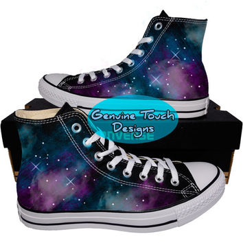 Custom Converse, Galaxy, Nebula, Fanart shoes, Custom Chucks, painted shoes, personalized converse hi tops