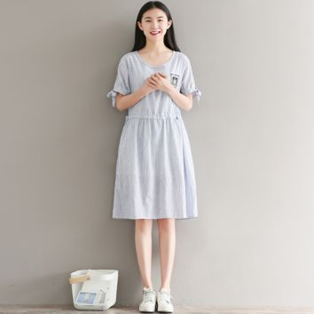 SHORT SLEEVE EMBROIDERED STRIPED LOOSE COTTON AND LINEN DRESS