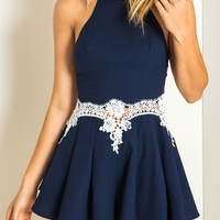 Blue Halter Crochet Lace Detail Strappy Romper Playsuit