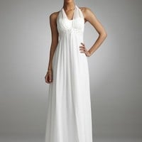 David`s Bridal Long Chiffon Over Charmeuse Gown with Split Front Style 230M10000 $179.00