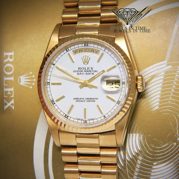 Rolex Day-Date President 18k Yellow Gold White Dial Mens Watch Box/Papers 18238