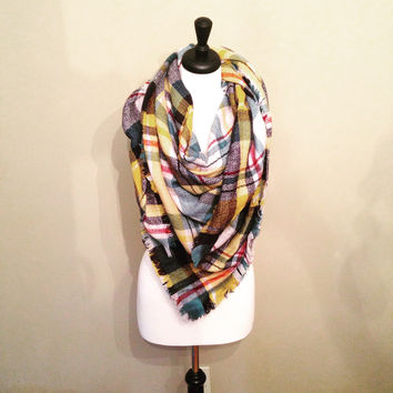 Yellow Twist Blanket Scarf by KnitPopShop