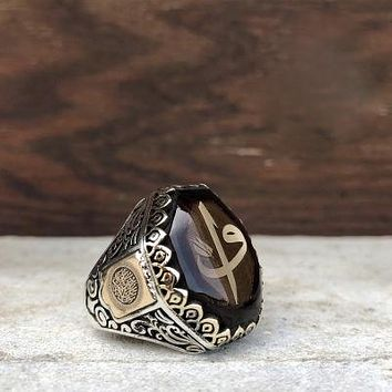 Amber gemstone with vav alif monogram 925k sterling silver mens ring