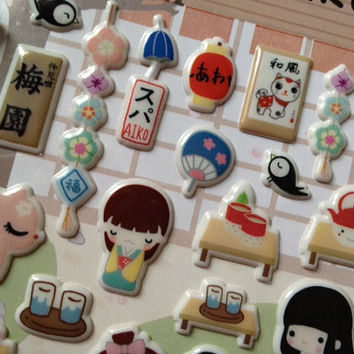 Sakura Kawaii Japanese doll sticker Japan national costume Kimono mini doll label cute gold fish Japanese girl lovely dresses deco gift card