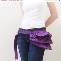 CHRISTMAS in JULY SALE Gathered Waist Purse in Purple - Fanny Pack / Hip Bag / Belt pouch / Handbag / Waist Pouch / Women / For Her