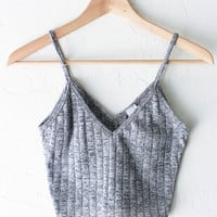 Knit V-neck Cami Crop Top - Light Grey