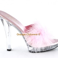 "PLEASER Women's Baby Pink Marabou Feather High Heels Slippers 5"" Lingerie Shoes"