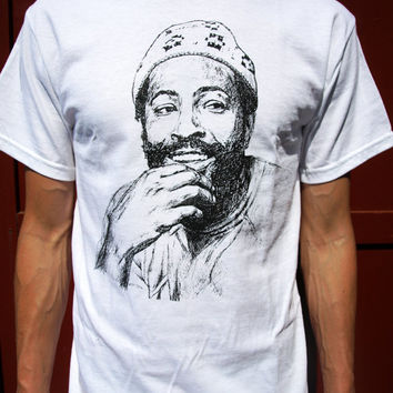 MARVIN GAYE T SHIRT white top mens hip hop clothing rap soul music band 80s tshirt sister art poster custom funny retro screen printed 70s