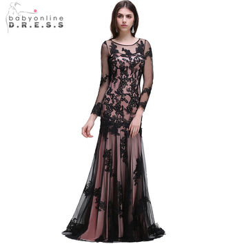2017 Babyonline Sexy Black O-Neck Lace Mermaid Evening Dresses With Long Sleeve Formal Dress Prom Party Dresses robe de soiree