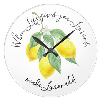 Modern Boho Watercolor When life gives you lemons Large Clock