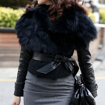 Black Turn-Down Fur Collar Sleeveless Waistcoat with Belt