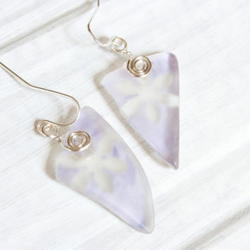 Lavender Flower Seaglass Earrings, Silver Wire Wrap Jewelry, Recycled Glass, Paper Jewelry