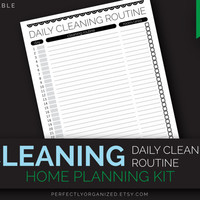 Daily Cleaning Routine, Cleaning Tasks Schedule To Do List, Black and White || Editable DIY Planner Organizer || Household PDF Printables,