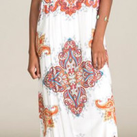 Flying Tomato Take Me to the Picnic Maxi Dress- Red multi