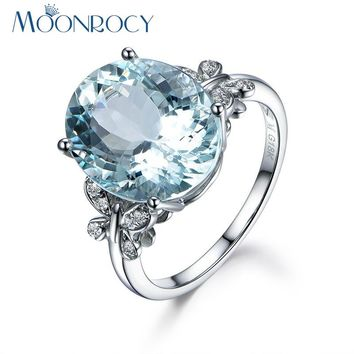 MOONROCY Fashion Jewelry Butterfly Silver Color Cubic Zirconia Wedding Light Blue Crystal Rings for OL WomenGift Drop Shipping