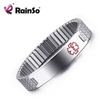 Stainless Steel ID Bracelet Man Woman Medical Alert ID Bracelets for Diabetic Free Engraved Name Statement id Bracelets