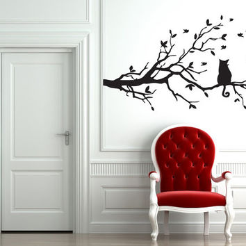 Awesome Gift Wall Decor Art Vinyl Sticker Decals Mural Animal Tree Cat Birds Leaves 261