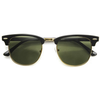Classic Vintage Inspired Large Half Frame Horned Rim Sunglasses 9186