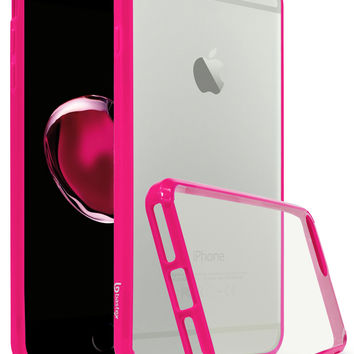 Apple iPhone 7 Plus Bastex Slim Fit, Flexible, Clear Transparent Back Cover, Fused TPU Hot Pink Side Bumper Case