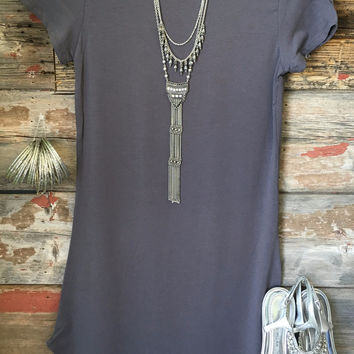Fun in the Sun Tunic Dress: Slate Grey