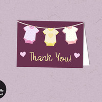 Onesuit Baby Shower - Printable Thank You Card, Instant Download, Modern Ruby, Baby Girl, Printable Party Supplies, Baby Shower Favor Tag