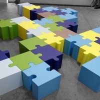 Coated foam pouf PUZZLE by Sixinch | design Pieter Jamart