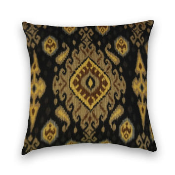 Ikat Decorative Pillow Cover-- Contemporary Accent Pillow-- Black, Yellow, Brown,