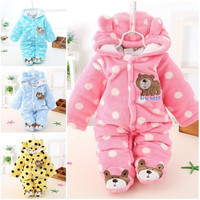 Newborn Baby Boy Clothing Fleece Winter Girl Romper Cartoon Infant Babies Clothes Meninas Bear Snowsuit Pink Blue Jumpsuits [8833602764]