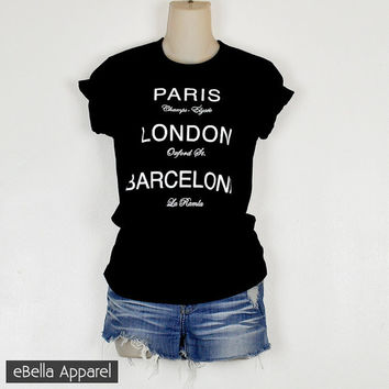 Paris London Barcelona - Women's Basic Black Short Sleeve, Graphic Print Tee
