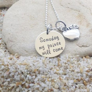 Jewelry - Necklace - Disney - Snow White - Disney Jewelry - Hand Stamped - Stamped Jewelry - Gift - Apple - Someday my prince will come