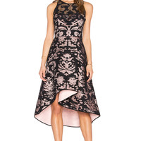 MILLY Martina Ornamentale Fil Coupe Dress in Black & Blush
