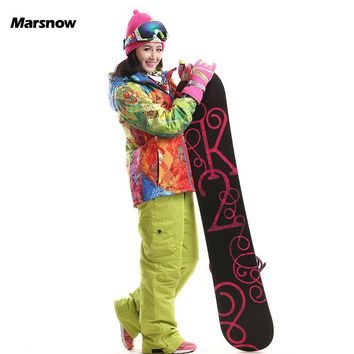 -30 Degree Marsnow High Quality Winter Outdoor Sport Women Ski Suits Set Snowboard Suit Set Ladies Warm Hoody Female Ski Suit