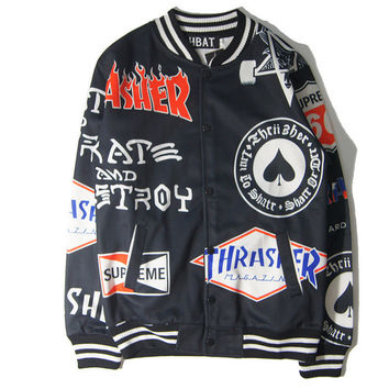 """THRASHER"" Fashion Cool Tide Male Female Multicolor Irregular Letter Pattern Print Buckle Cotton Baseball Collar Couple Jacket Long Sleeve Coat"