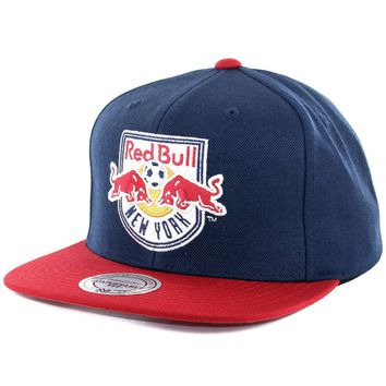 """Mitchell & Ness """"Team Solid 3"""" New York NY Red Bulls Snapback Hat (Navy/Red) Cap"""