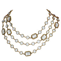 Chanel - CHANEL Blue Gray Crystal Sautoir Necklace