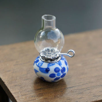 Dollhouse Miniature Glass Hurricane Oil Lamp White Blue Flowers