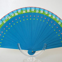 Spanish folding fan. Hand painted. Blue fan. White flowers and polka dots.