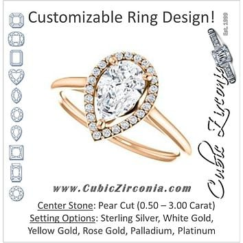 Cubic Zirconia Engagement Ring- The Patrice (Customizable Cathedral-Halo Pear Cut with Thin Band)