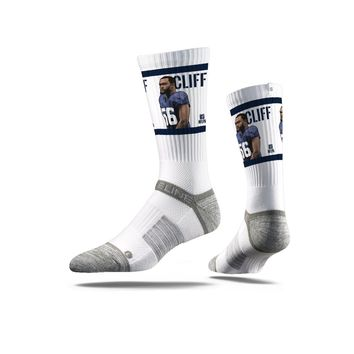 NFLPA - Cliff Avril, White - Strideline Crew Socks
