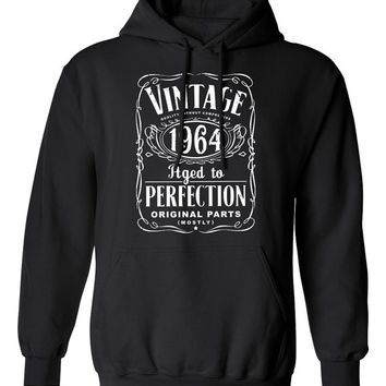 50th Birthday Gift For Men and Women - Vintage 1964 Aged To Perfection Mostly Original Parts Hoodie Hooded Sweatshirt Gift idea S-12h