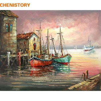 CHENISTORY Sunset Sailing Boat DIY Painting By Numbers Wall Art Picture Canvas Painting Modern Home Decor For Living Room 40X50