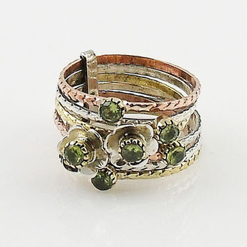 Peridot Sterling Silver Three Tone Stack Ring