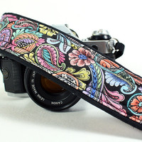 Psychedelic Paisley Camera Strap, Hand Tinted, OOAK , dSLR, SLR, Padded