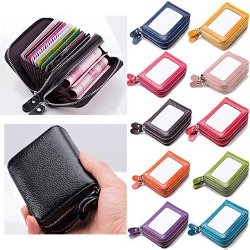 Men's/ Women's Genuine Real Leather RFID Blocking Credit ID Card Holder Pocket Wallet Zip Coin