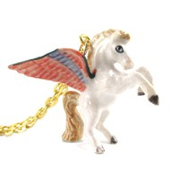 Pegasus White Horse with Large Wings Shaped Hand Painted Ceramic Animal Pendant Necklace | Handmade