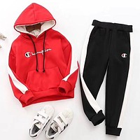 Champion Girls Boys Children Baby Toddler Kids Child Fashion Casual Top Sweater Pullover Hoodie Pants Trousers Two Piece Set