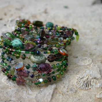 Memory Wire Beaded Wrap Bracelet in Greens with spiral- Ireland Theme